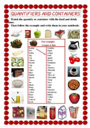 English Worksheet: Quantifiers and containers