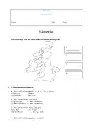 English Worksheet: UK Culture Quiz
