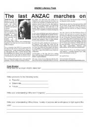 English Worksheets: ANZAC Literacy Task
