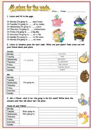 English Worksheet: Days of the week-be going to- (My plans for the week) Page 2-teacher�s guide.
