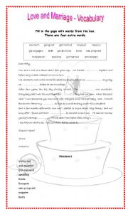 English Worksheet: Love and marriage - Vocabulary