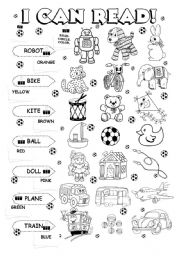 English Worksheets: I can read (5/5) - toys