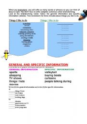 English Worksheet: Brainstorming -general and specific information