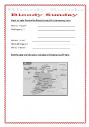 English Worksheets: Bloody Sunday (4 pages different skills) + answers