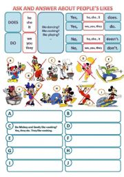 English Worksheet: VERB TO LIKE - INTERROGATIVE FORM (YES/NO QUESTIONS)