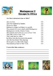 English Worksheet: Madagascar 2 - Escape to Africa