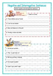 English Worksheets: Negative and interrogative sentences