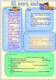 English Worksheets: All, every, each