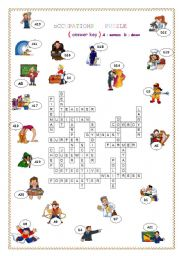 worksheet: OCCUPATION PUZZLE ANSWER KEY