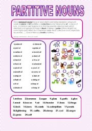 English Worksheet: Partitive nouns