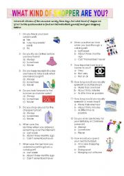 English Worksheets: WHAT KIND OF SHOPPER ARE YOU??