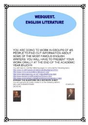 English Worksheets: WEBQUEST; ENGLISH LITERATURE