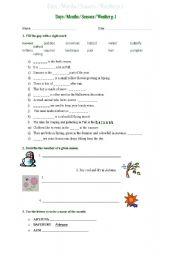 English worksheet: days months seasons p.1