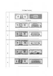 English Worksheet: U.S. Paper Currency