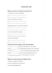English worksheet: Present and past tense/Using to be and to do ask auxiliar verbs