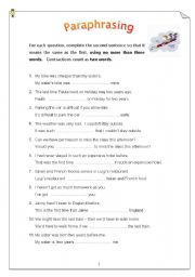English Worksheet: Paraphrasing - 50 sentences