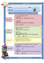 Interrogative adjectives, Pronouns and Adverbs - part 1