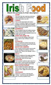 English Worksheets: (set 4/8) IRISH FOOD