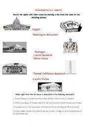 English Worksheet: Washington D.C. Sights