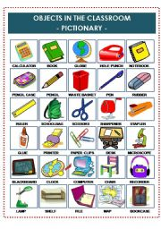 English Worksheet: OBJECTS IN THE CLASSROOM PICTIONARY