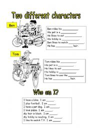 English Worksheets: Two different characters