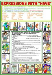 English Worksheet: EXPRESSIONS WITH HAVE