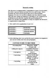English Worksheets: discursive writing