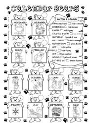 English Worksheet: Calendar bears - months