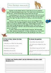 English Worksheets: The fastest animals