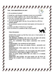 English Worksheet: Superstitions - How superstitious are you?