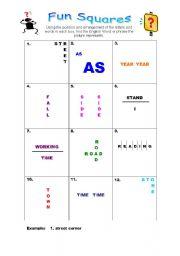 English Worksheets: Fun squares
