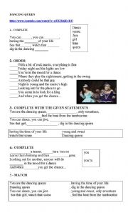 English Worksheets: SONG: DANCING QUEEN