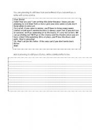 English worksheet: write a letter