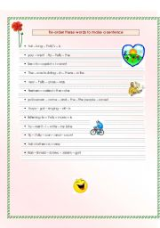 Re-order these words to make a sentence - ESL worksheet by ...