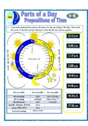 English Worksheet: Parts of a Day and Prepositions of Time (on, at, in)