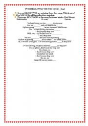 English Worksheets: SONG FOR VALENTINE´S DAY: I´VE BEEN LOVING YOU