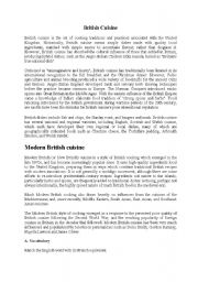 English Worksheets: British Cuisine - Text and comprehension questions
