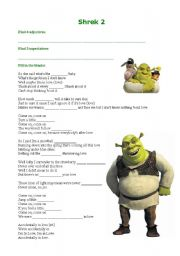 English Worksheet: Shrek 2 - Adjectives, comparatives and superlatives
