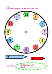 English Worksheet: let�s make a clock