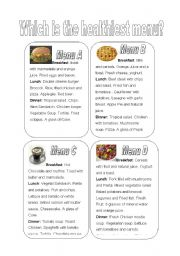 English Worksheets: Which is the healthiest menu?