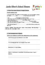 English Worksheet: Jamie Oliver�s School dinners 1/2