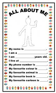 English Worksheet: ALL ABOUT ME (beginner)