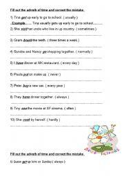English worksheet: Adverb of time