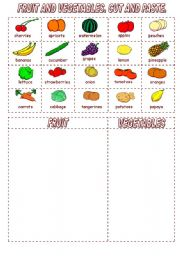 English Worksheet: FRUIT AND VEGETABLES. CUT AND PASTE.