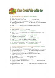 English Worksheet: Can Could Be able to