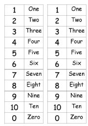 English Worksheets: MEMORY GAME FOR NUMBERS