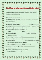 English Worksheets: 8 page Revision on Present Tenses Key included