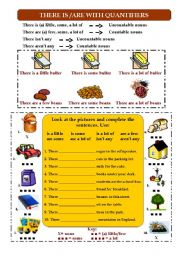 English Worksheet: There is - There are with quantifiers (any, some, a lot of, a few, a little)