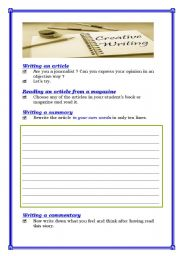 English Worksheets: Creatieve writing strategies (4 pages)