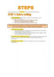 English Worksheets: WRITING GUIDE: STEPS FOR WRITING (Part 1 of 4)